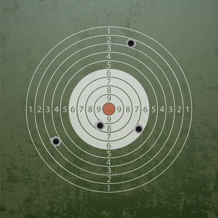Military target with bullet holes. Stock vector illustration. Illustration