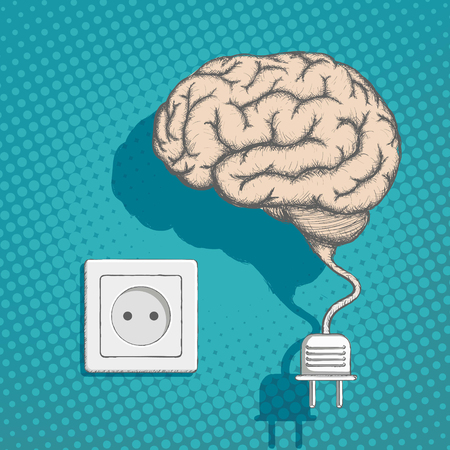 Human brain with an electrical plug and socket. Stock vector illustration.