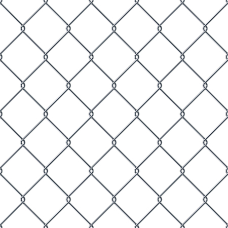 detain: Fence made of metal wire. Seamless pattern isolated on white background. Stock vector illustration.