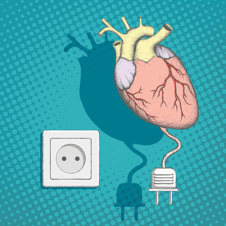 Human heart with an electric plug and socket. Stock vector illustration. Illustration