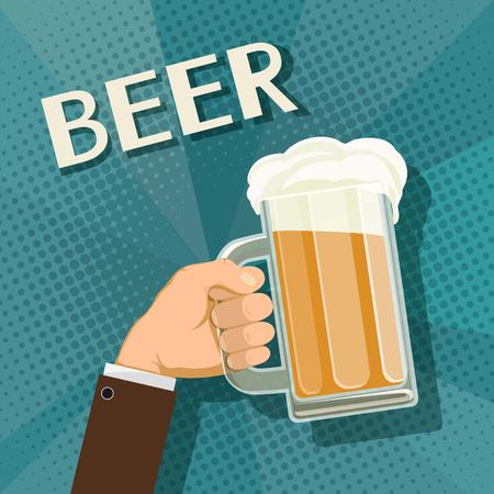 segurar: Human hand holds a mug of beer. Stock vector retro illustration. Ilustração