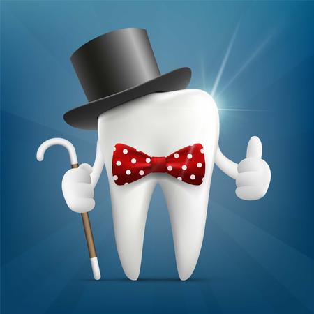 Menschlicher Zahn in einem Hut, mit einem Stock und einer Fliege. Standard-Bild - 77150880