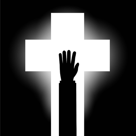 Human hand on the background of the religious symbol of the cros Illustration