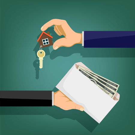 Two people hold in their hands an envelope with money and a key. Sale and purchase of real estate. Stock vector illustration. Illustration