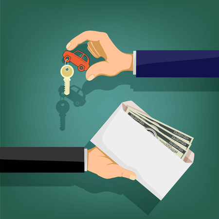 Buying a car. The two men are holding an envelope with money and keys from the vehicle. Stock vector illustration.