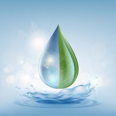 Goutte d'eau transparente sur un fond bleu. Traitement des eaux usées. Livraison et purification. Illustration vectorielle stock