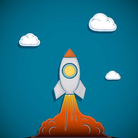 Rocket flies into the sky. Business start-up and development. Stock Vector Illustration in a style of flat graphics. Illustration