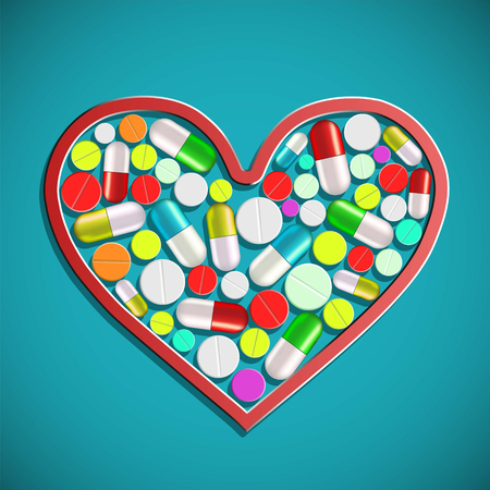 Human heart with tablets and pills. Stock vector illustration in a style of flat graphics Illustration