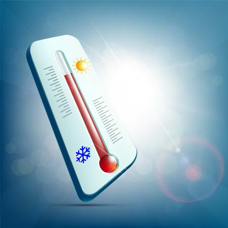 insolación: Termómetro meteorológico para medir temperatura y pronóstico del tiempo. Ilustración vectorial.