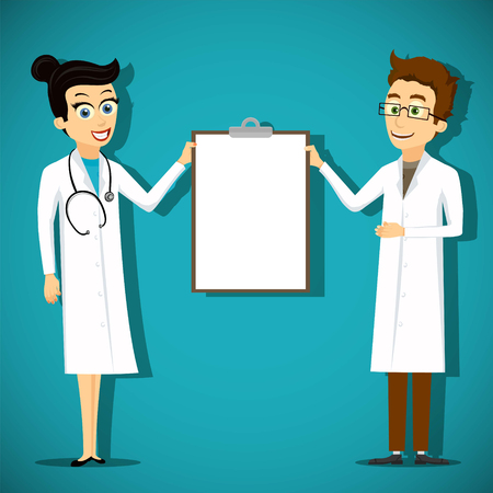 Two doctors woman and man in lab coat holding blank clipboard. Stock vector cartoon illustration.