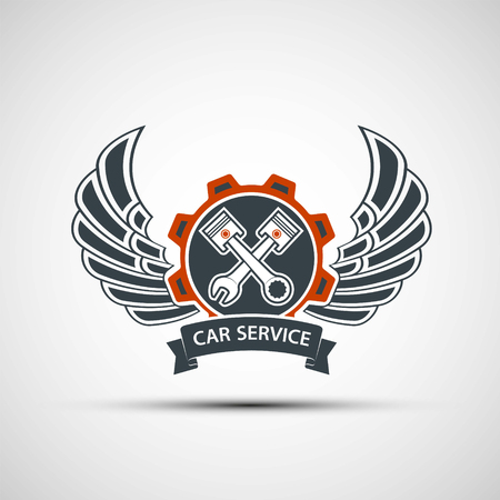locksmith: Engine logo with plungers, wings and a tool wrench. Car service. Stock vector illustration. Illustration