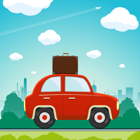 Car with a suitcase is driving along the road. Vacation and travel. Stock vector flat graphic illustration. Illustration