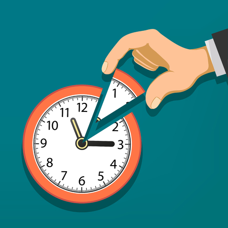 Human hand holds the clock with the arrows. Stock vector flat graphic.