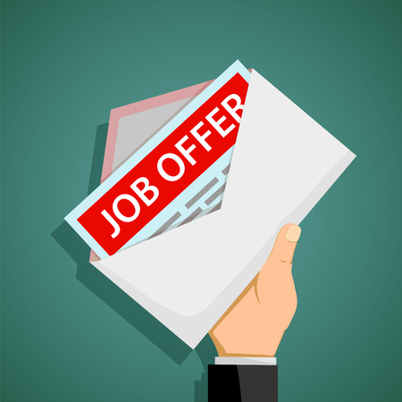 Human hand holds an envelope with job offer. Stock vector flat graphic.