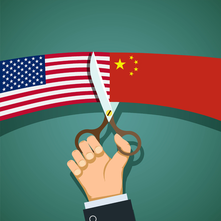 cold war: Human hand with scissors cuts the USA flag and the China. Cold War. Stock vector flat graphics.