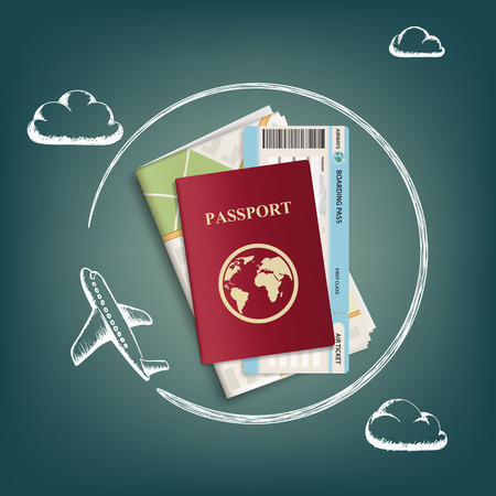 Plane flies around passport with ticket and map. Travel concept background. Stock vector graphics. Illustration
