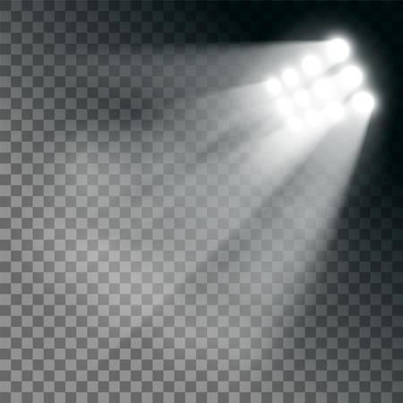 Efekt świateł stadionu na przezroczystym tle. Stockowa ilustracja wektorowa. Ilustracje wektorowe