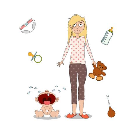 La donna è in piedi accanto a un bambino piangente. Isolato su sfondo bianco. Fatica e depressione del genitore. Grafico vettoriale vettoriale di stock vector. Vettoriali