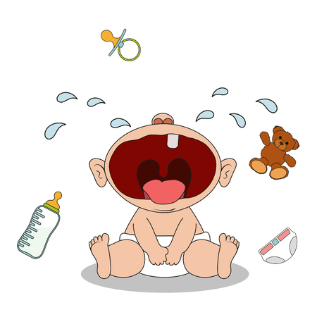 Little baby boy sits and cries. Health problems and teething. He wants to eat or drink or play with a toy. Isolated on white background. Stock vector cartoon illustration Illustration