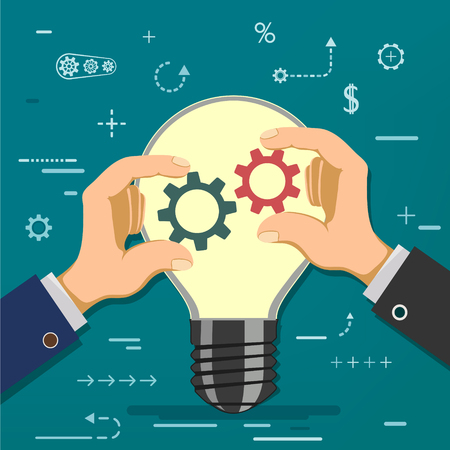 Two businessmen hold gears in hands on the background of a light bulb. Symbol of partnership and cooperation. Financial investments in business and start-up. Stock vector cartoon illustration. Illustration