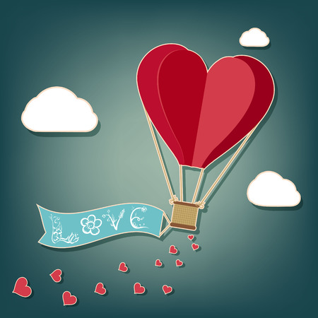 Hot air balloon in a heart shape. Illustration