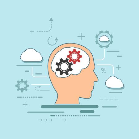내부 기어와 인간의 머리의 실루엣. 창의력, 혁신 및 사고에 두뇌를 사용하십시오. 평면 그래픽 스타일에서 재고 벡터 일러스트 레이 션.