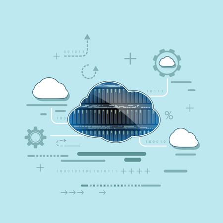 Cloud computing. Server voor gegevensopslag. Technologie achtergrond. Stock vector illustratie in platte grafische stijl. Stock Illustratie