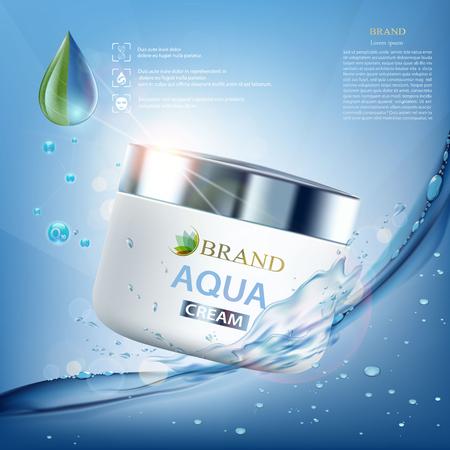 Cosmetische crème met vitamines, aqua en co-enzym. Spatten van water met druppels. Ontwerp van verpakkingsmerken. Voorraad vectorillustratie
