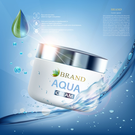 Crema cosmética con vitaminas, aguamarina y coenzima. Salpicaduras de agua con gotas. Diseño de marca de embalaje. Ilustración vectorial de stock