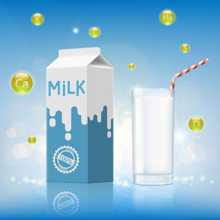 pasteurized: Glass of milk with vitamins and cardboard packaging. Design of dairy product. Stock vector illustration.