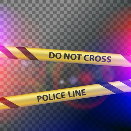 Crime scene. Do not cross police line. Yellow striped warning tape. Stock vector illustration.