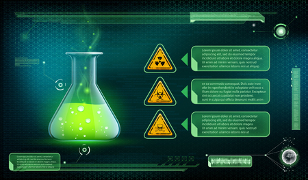 poison bottle: Glass beaker with a poisonous liquid. Container with green chemical. Futuristic interface of scientific analysis. Stock vector illustration.