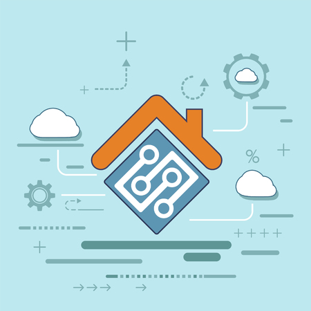 Icon interface of smart home automation assistant. Internet of things concept. System with centralized control. Stock vector flat design style illustration Illustration