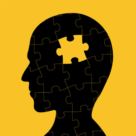Icon of human head with piece of puzzle inside. icon of dementia and creative. Stock vector illustration.