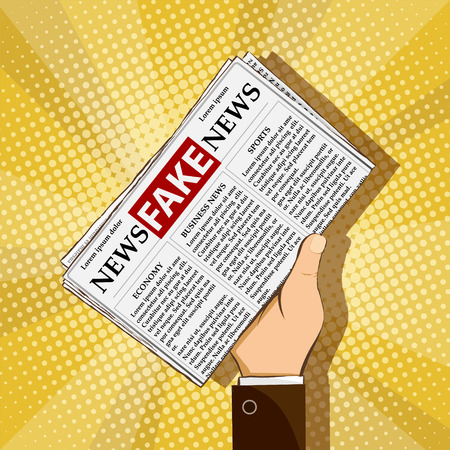 Fake news in daily press. Man is holding in his hand a newspaper with lies and propaganda. Stock vector illustration.