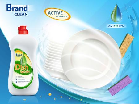 Dishwashing liquid product. Plastic bottle with label design. Brand name advertising poster. Stock vector illustration.