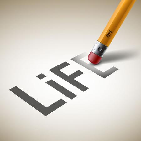 「生命」という言葉をなでる鉛筆のイラスト。