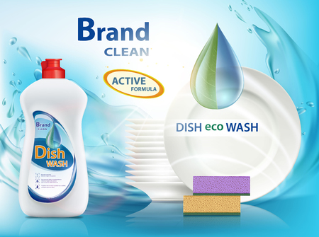 Produit liquide lave-vaisselle. Récipient en plastique avec conception d'étiquette. Affiche publicitaire de marque. Illustration vectorielle de stock. Banque d'images - 86059104
