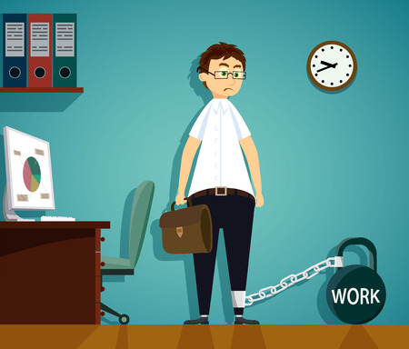 Man chained to kettlebell with the word work. Workplace in the office. Stock vector cartoon illustration.