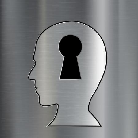 leadership key: Keyhole in the human head. Mental diseases and esoterics. Metallic background. Stock vector illustration. Illustration