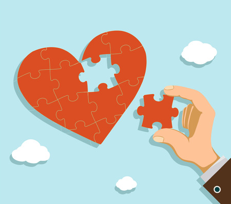collect: Man fold the heart from puzzle pieces. Charity and donation. Stock vector illustration. Illustration