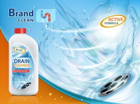 Plastic container with drain cleaner. Mock-up package with label design.