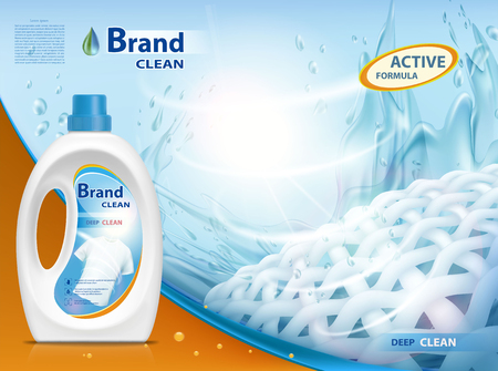 Plastic container with laundry detergent. Mock-up package with label design. Stock vector illustration. Иллюстрация