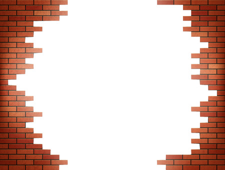 White hole in red brick wall. Stock vector illustration.