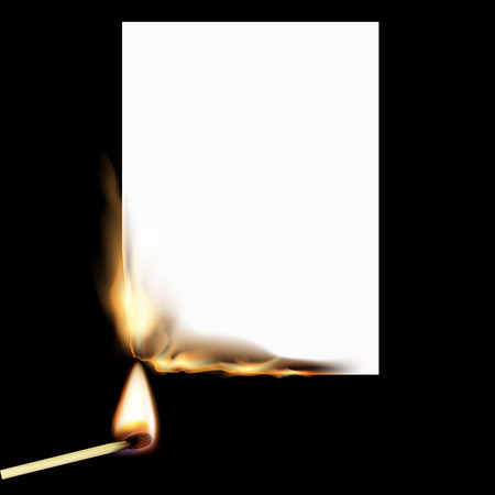 White sheet of paper on fire and match.