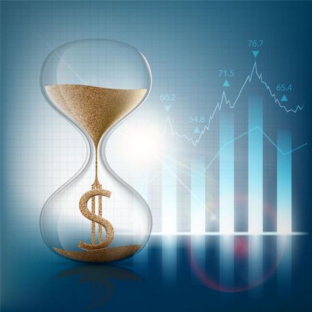 Sanduhr mit einem Dollarzeichen. Grafik und Diagramm. Börse. Vektor-Illustration.