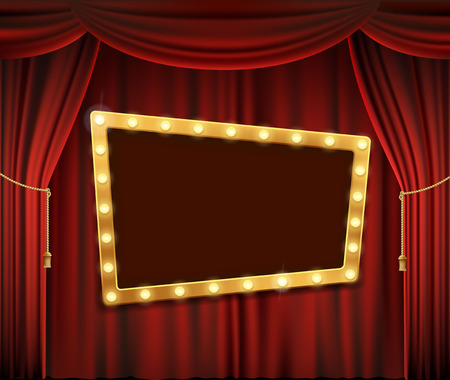 Gold frame with light bulbs on the red theatrical curtain. Stock vector illustration. Illustration
