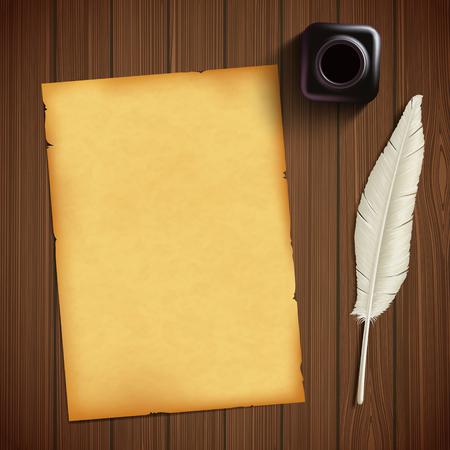 Altes Blatt Papier für das Schreiben und Feder mit einem Tintenfaß auf einem Holztisch.