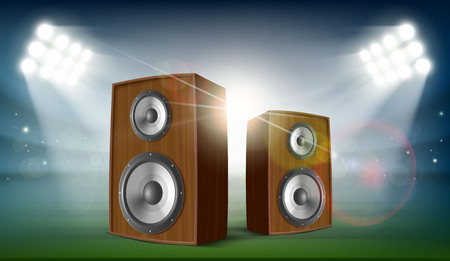 Audio speakers in a stadium with spotlights. Music festival and concert. Stock vector illustration.