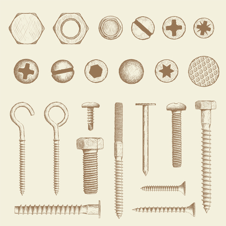 Set of industrial fasteners. Bolt, screws and nail in hand drawn style. Stock Vector sketch illustration.